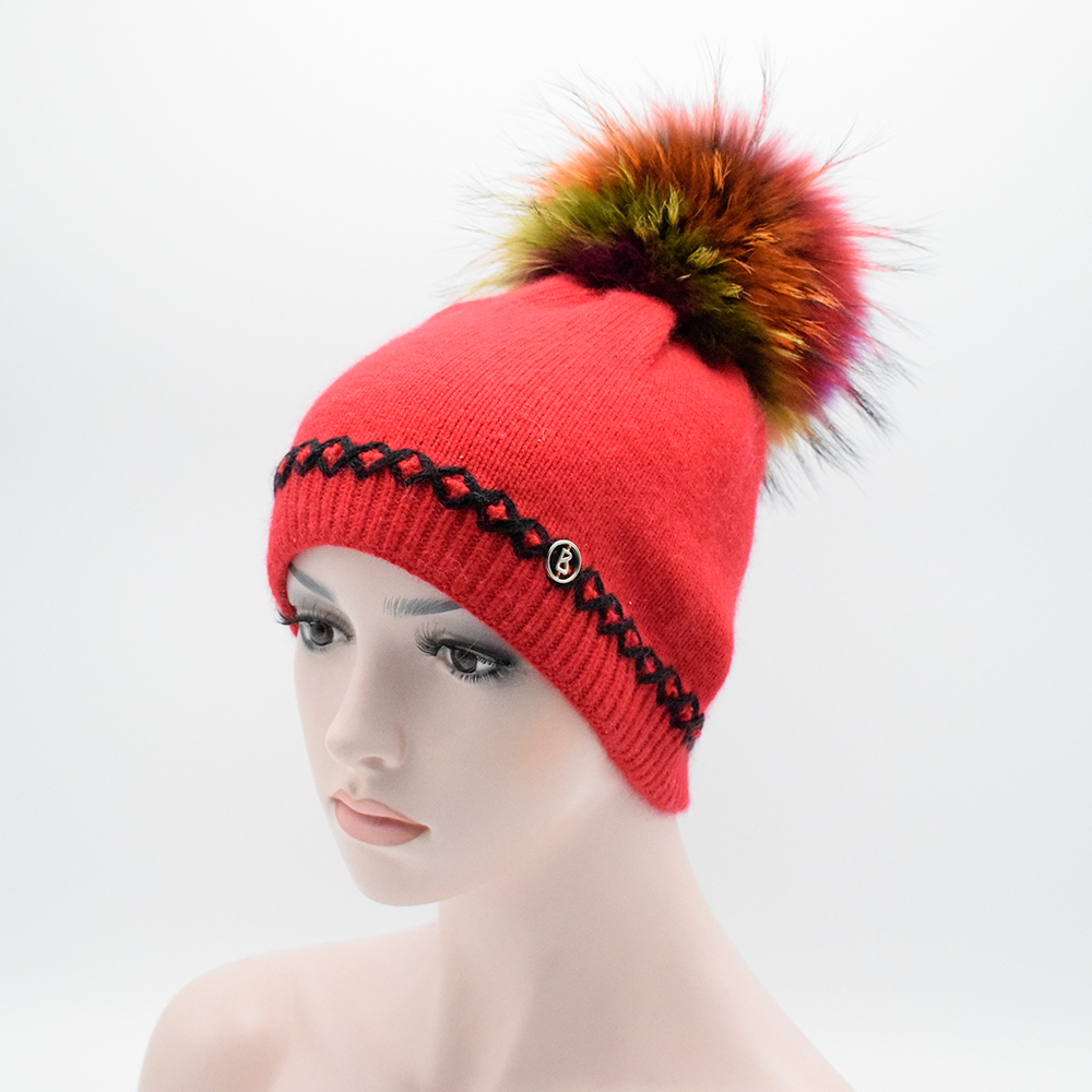 New Genuine Raccoon Fur Pompoms Women s Winter Hats Girls Knitted Wool Rabbit Braid Caps Female