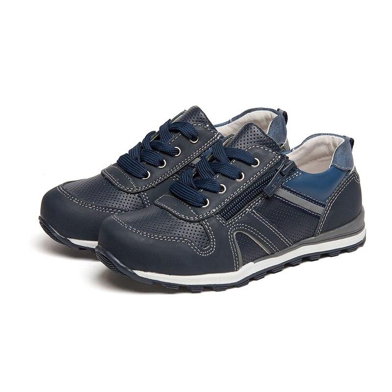 QWEST primavera y otoño arco ortopédico soporte de cuero genuino plantilla transpirable tamaño 28-33 zapatos casuales para niño 81P-XY-0661