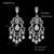 Mecresh Luxo Lustre Forma Cubic Zirconia Nupcial Brincos Longos Ródio Chapeado Jóias para Festa de Casamento Dos Namorados MEH830