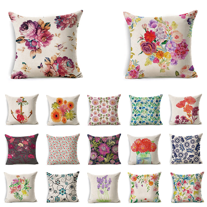 1Pcs Flower Leaf Pattern Cotton Linen Cushion Cover Living ...