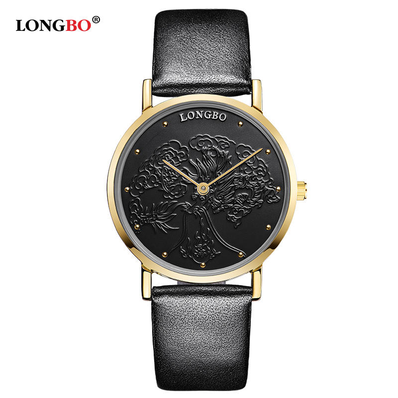 LongBo Brand Couple Watch Women Rhinestone Leather Watches Men Casual Quartz Wristwatches Lovers Watch Private Custom Style