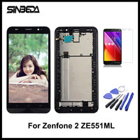 Sinbeda AAAA 5.5 LCD For ASUS Zenfone 2 ZE551ML LCD Display + Touch Screen Digitizer Assembly With Frame + Free Tempered Glass