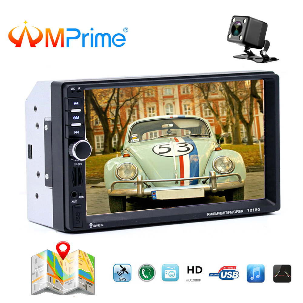 AMPrime 7018G 2 Din Car Multimedia Player+GPS Navigation+Camera Map 7'' Touch Screen Bluetooth Autoradio MP5 Video Stereo Radio цена 2017