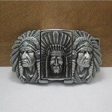 Neue Stil Native American Indian Chief Feuerzeug Gürtelschnalle 105*61mm 173,3g Silber Metall Für 4 cm breiten Gürtel Männer Jeans zubehör