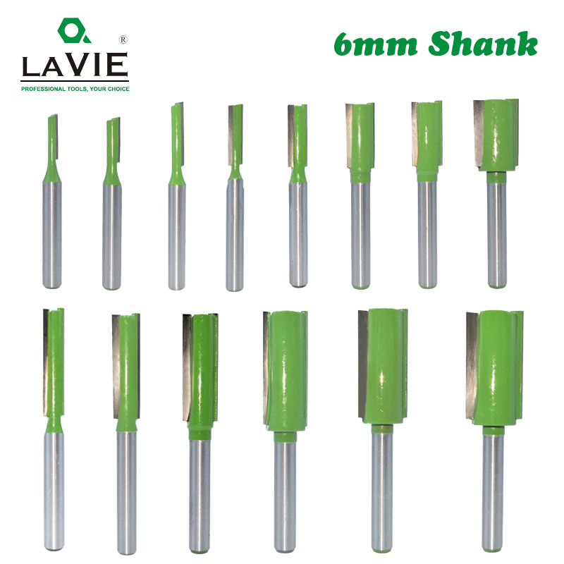 LAVIE 1pc 6mm Shank Straight Bit Tungsten Carbide Single Double Flute Router Bit Wood Milling Cutter For Woodwork Tool MC06020