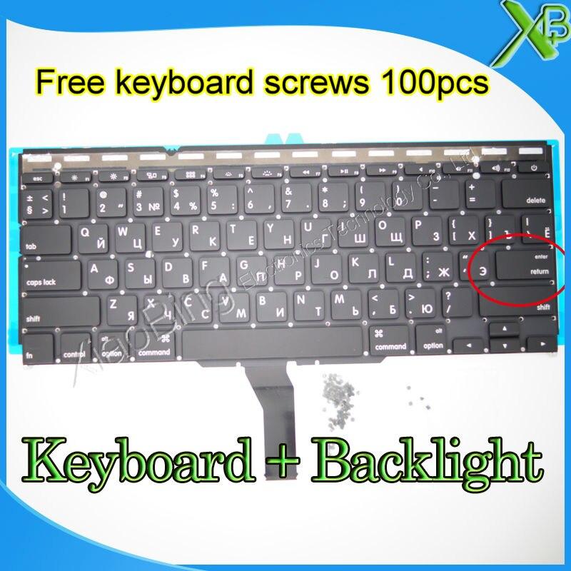 Marke Neue Kleine Geben RS Russische tastatur + Hintergrundbeleuchtung + 100 stücke tastatur schrauben Für MacBook Air 11,6