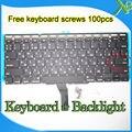 """Nuevo Pequeño Entrar RS teclado Ruso + Retroiluminación Retroiluminada + 100 unids tornillos del teclado Para Macbook Air 11.6 """"A1370 A1465 2010-15Year"""