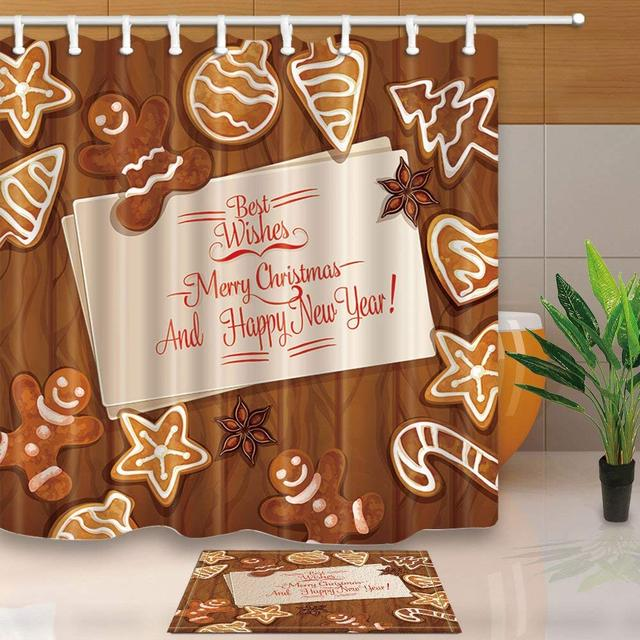 Funny Chocolate Flavor For Christmas Shower Curtain And Mat SetMerry Themed Bathroom Set Waterproof Fabric