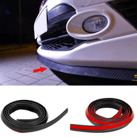 YAQUICKA 2.5M Carbon Fiber Style Car Rubber Front Shovel Bumper Lip Skirts Protector Anti Collision Strip Sticker Universal Use