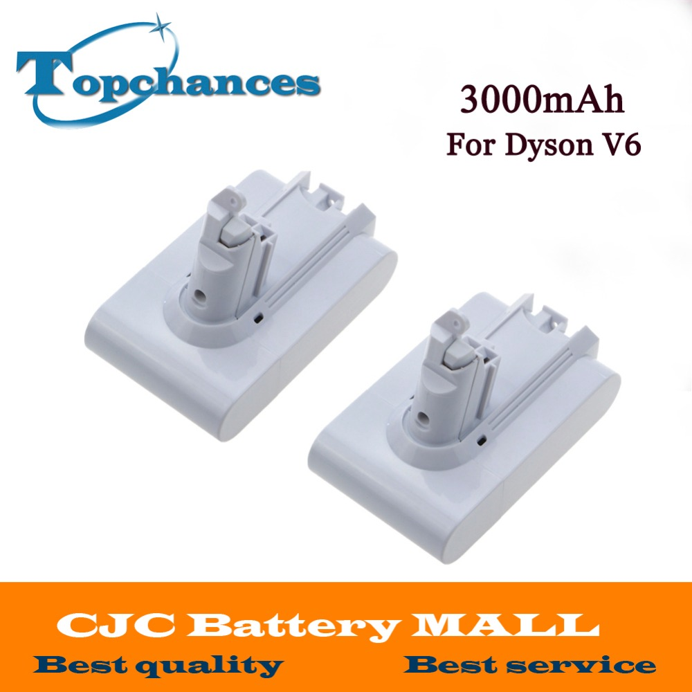 2 шт. высокое качество 21.6 В 3000 мАч литий-ионная Батарея для <font><b>Dyson</b></font> V6 матрас шнур-бесплатно ручной Пылесосы для автомобиля (белый Цвет)