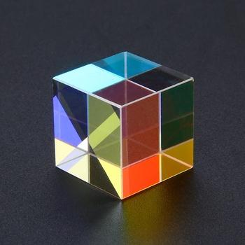 Kostka z pryzmatem 18x18mm wadliwy krzyż dichroiczne lustro Combiner Splitter Decor przezroczysty moduł szkło optyczne klasy zabawki tanie i dobre opinie Cube Optical Glass other cube Prism Mayitr