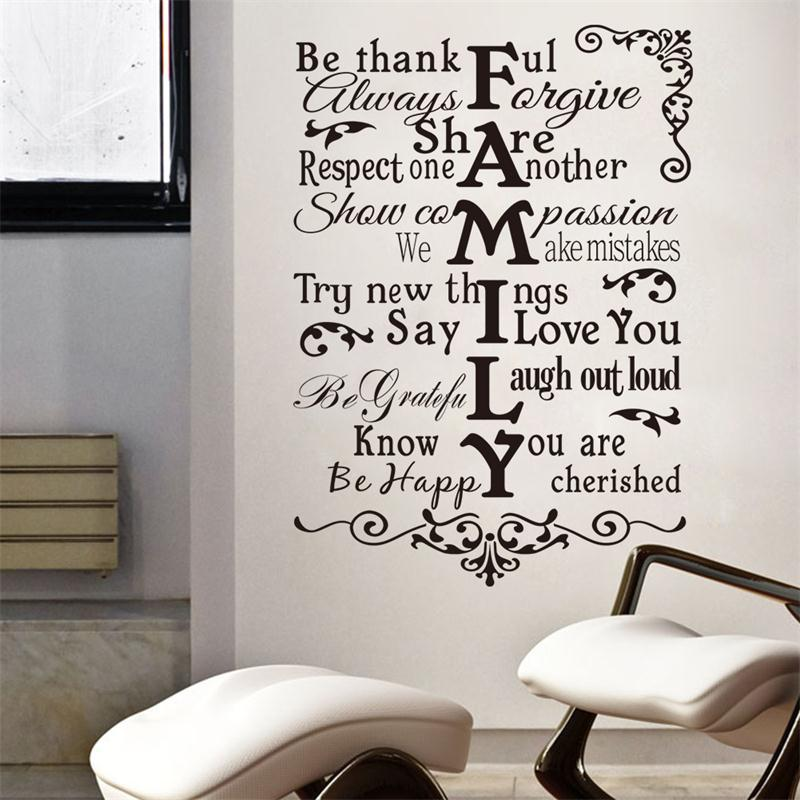 Inspiration quote family warm happy share rlues sayings for Living room decor quotes