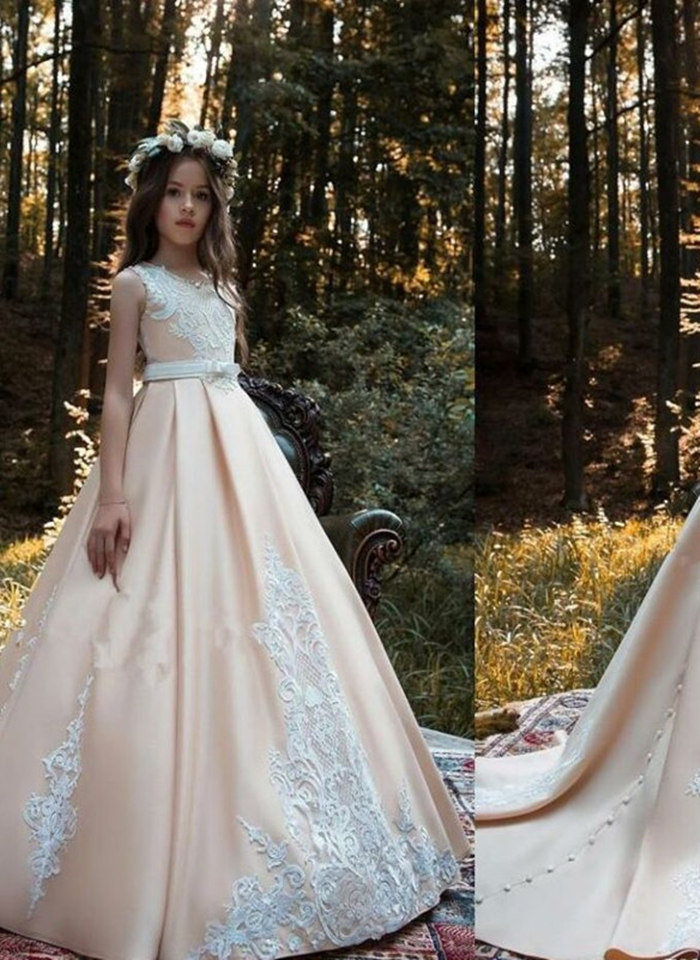 New 2019   Flower     Girl     Dresses   For Weddings Ball Gown Satin Appliques Lace Sash Long First Communion   Dresses   For Little   Girls