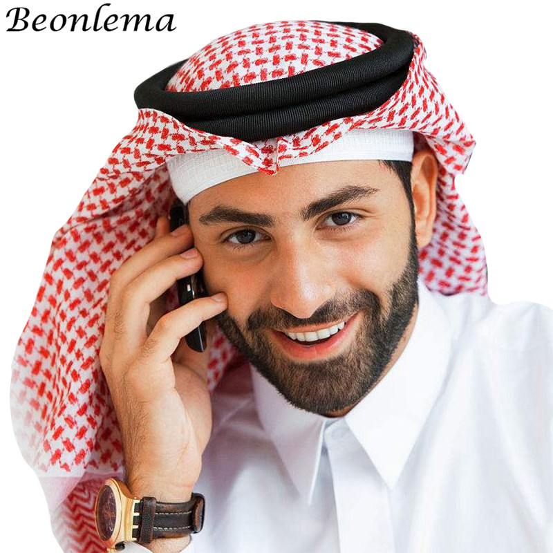 Beonlema Arabic Hat Arab Turban Islam Cap Plaid Fashion Headscarf Muslim Headdress Men Hijab Musulman Classical Bonnect