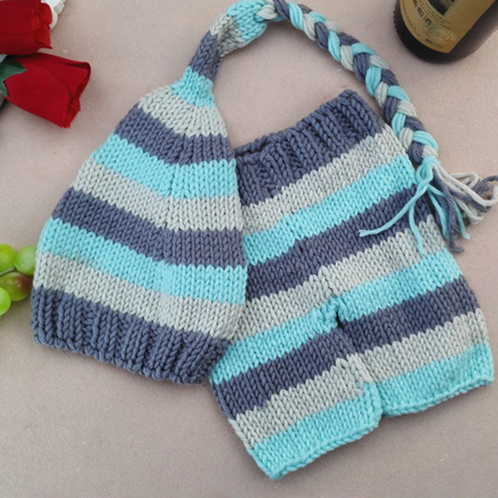 Baby Photo Costume Clothes Newborn Girls Boys Photography Prop Crochet Knit Overall Bib Pants + Hat 2pcs Sets Striped Outfits