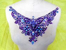 Handmade crystal patches purple sew on Rhinestones applique with stones sequins beads 32*13cm for top dress