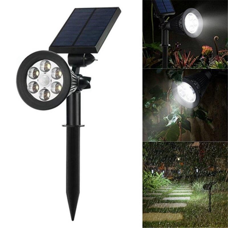 6 LED luz solar PIR sensor de movimiento 4 W solar powered Luz de inundación al aire libre jardín paisaje lámpara de césped proyector decoración