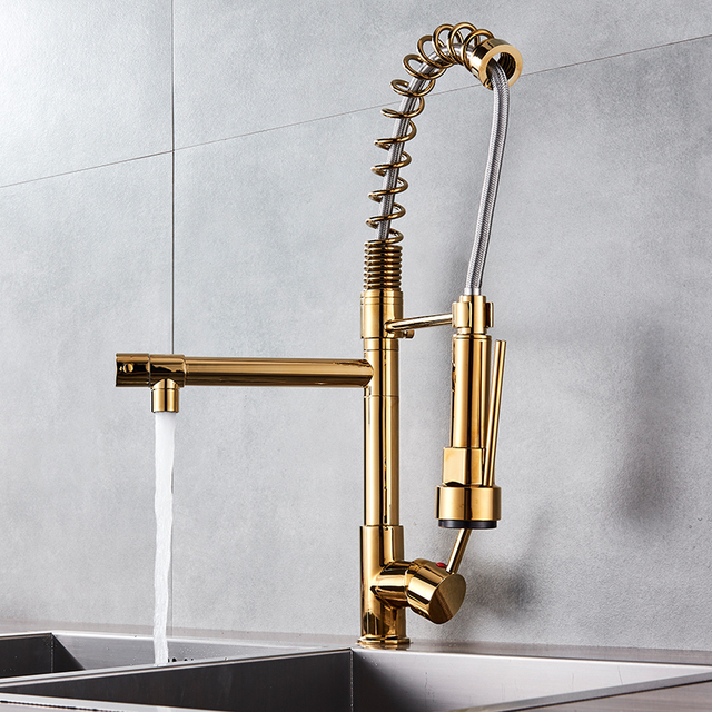 Uythner Modern Luxury Brass Gold Kitchen Faucet Rotatable Mixer Tap with LED Single Sharp Handle Single Hole Hot&Cold Water