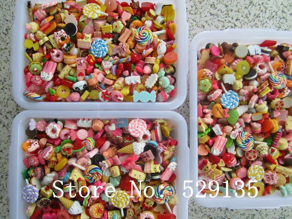 Wholesale Mix Cute Food 500pcs lot Resin Cabochon for Phone Deco DIY Free Shipping