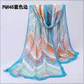new2014summer women's brand desigual large long floral print european fashion red blue silk chiffon scarf  shawl pashmina scarf