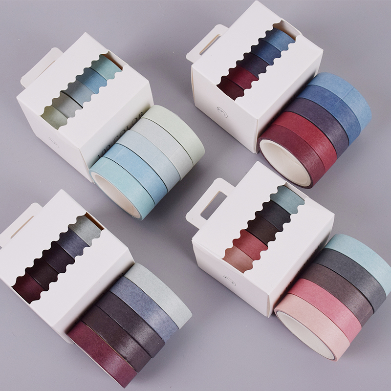 5 Pcs/Box 1cm*3m Multicolor Simple Solid Color Washi Tape Diy Decoration For Scrapbooking Masking Tape Adhesive Tape
