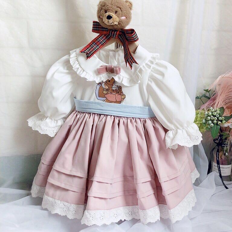 0 7Y Baby Girl Summer Autumn Turkey Style Pink Rabbit Seven quarter Sleeve Lolita Princess Dress
