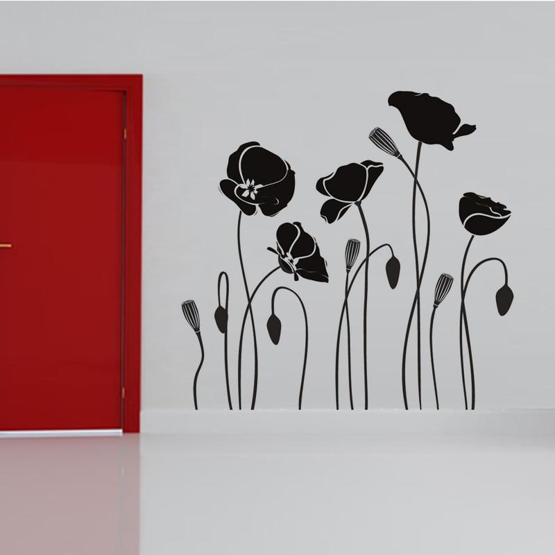 product Poppy Flower Wall Sticker Home Decor DIY Removable Black Waterproof PVC Art Decal Tutos Murals