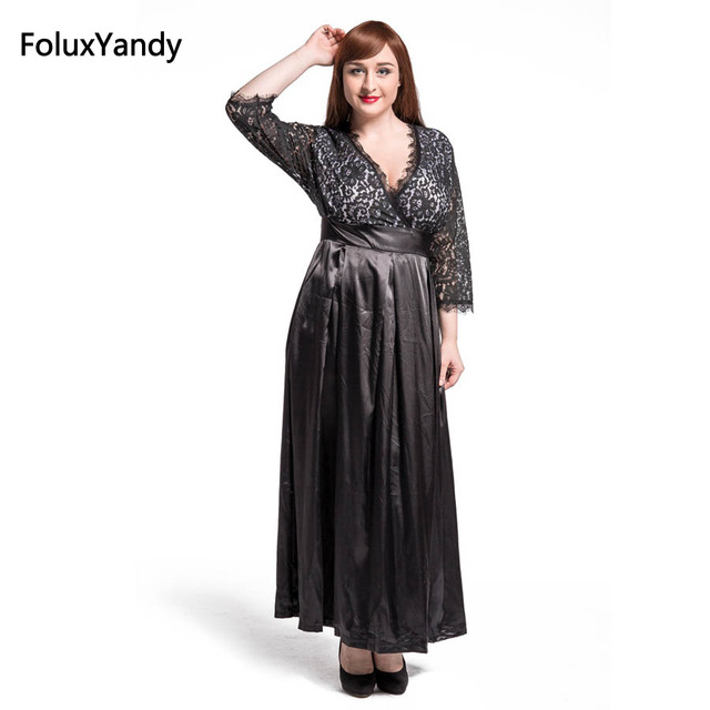 6875f44e4924a8 Patchwork Lace Long Dress Women Plus Size 3 4 5 6 7 XL V-neck Three Quarter  Sleeve Vintage Dress Vestidos Black CMC43