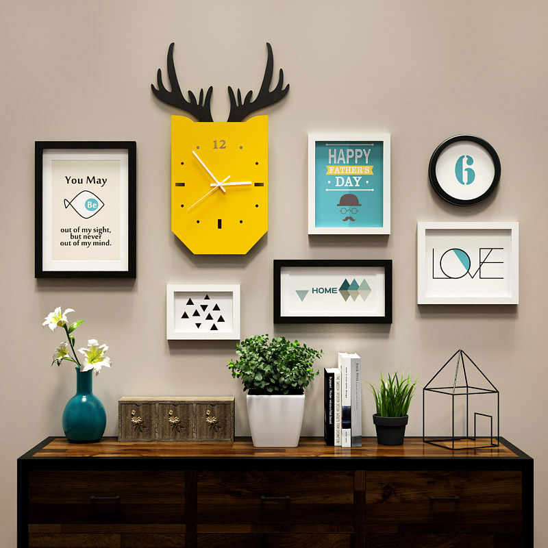 ديكور منزلي جديد لمتجر غرفة المعيشة الحديثة لوحة الوقت المناسب طقم إطار الصورة ساعة ديكور الحائط الخشبي الصلب DIY HF9392