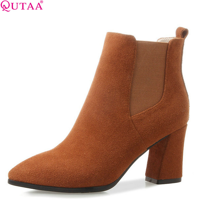 QUTAA 2019 Women Ankle Boots Cow Suede Square High Heel Pointed Toe All Match Fashion Winter Shoes Women Boots Size 34-39 women s ankle boots strappy pointed toe vogue comfy all match shoes