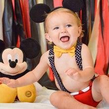 Los bebés 1st cumpleaños Cake Smash ropa Suspender pañal/pantalones pajarita oídos trajes Boy Mickey traje fotografía foto props