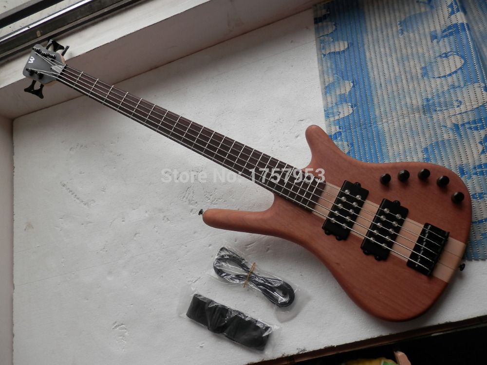 Factory custom 2017 Newest W LTD Corvette 5 strings Bass natural one piece neck electric bass with 9 V Battery active pickups 33