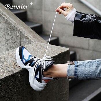 Baimier luksusowe marki kobiety sneakers mieszane kolor koronki up kobiety platforma buty 2018 Fashion Street Style Daddy buty Woman