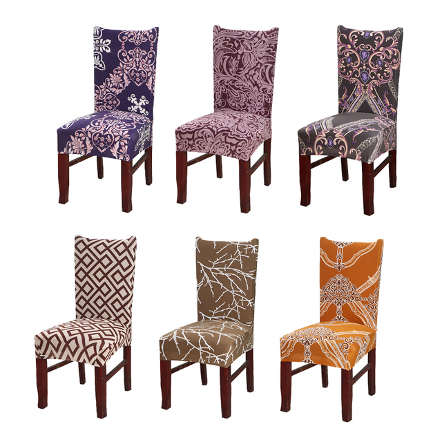 Baroque Universal Chair Cover Spandex Stretch Polyester Dining Room Seat Geometric Kitchen Hotel Protector