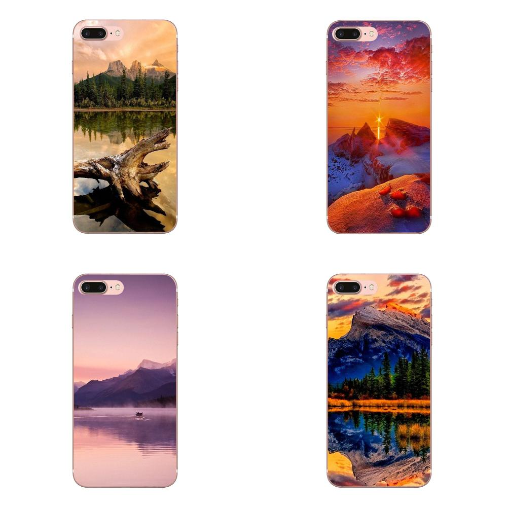Colourful Style Mountain Lake Sunset Landscape Buy For Galaxy Alpha Core Prime Note 4 5 8 S3 S4 S5 S6 S7 S8 S9 mini edge Plus image