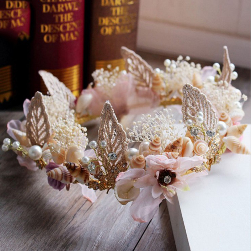 Women Royal Tiara Crystal Crown Garlands Bride Jewelry Hair Ornament Shell Floral Queen Luxurious Wedding Dress Accessories
