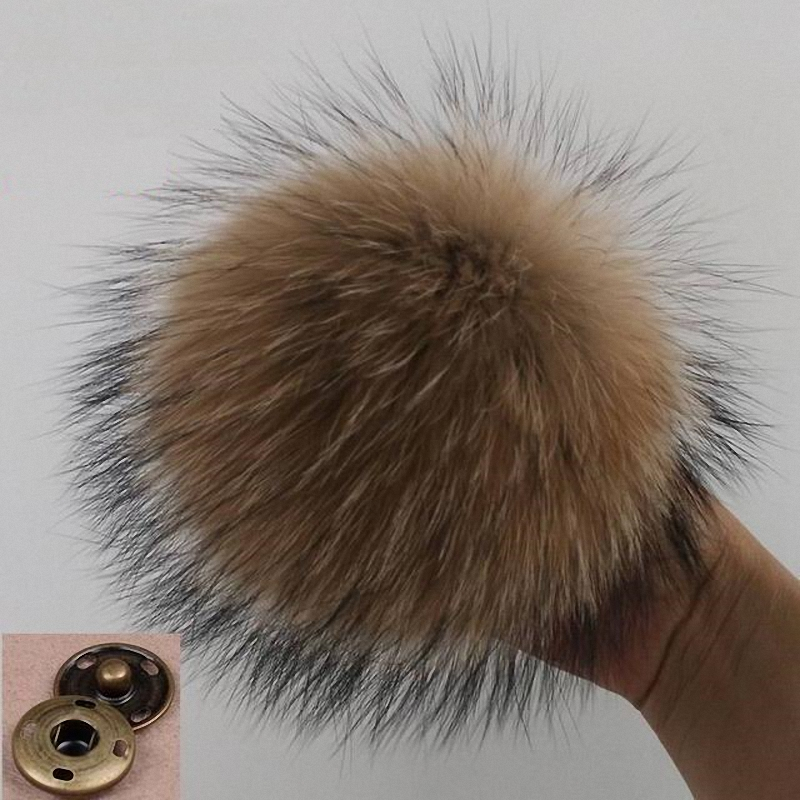 15cm DIY Genuine Real Raccoon Fur Pompom For Women Kids Beanie Hats Caps Big Size Natural Ball For Shoes Caps Bags F015-natural