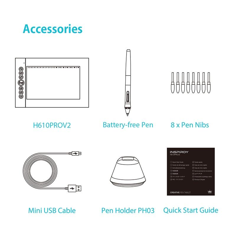Huion H610 PRO V2 tablettes graphiques numériques artiste Designer tablette de dessin fonction d'inclinaison tablettes stylo sans batterie pour Win et Mac - 5