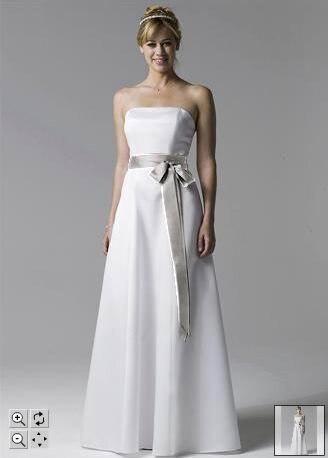 Plain White Strapless Wedding Dress - Short Hair Fashions
