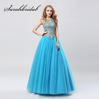 Turquoise Blue Prom Dresses 2018 Jewel Hals met Borduurwerk Sexy Backless Floor Lengte Sweet 16 Party Avondjurken CC471