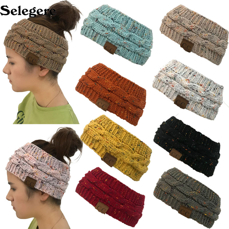 2018 knitting twist headband CC mark horsetail hat empty top knit hat Europe and the United States hot selling