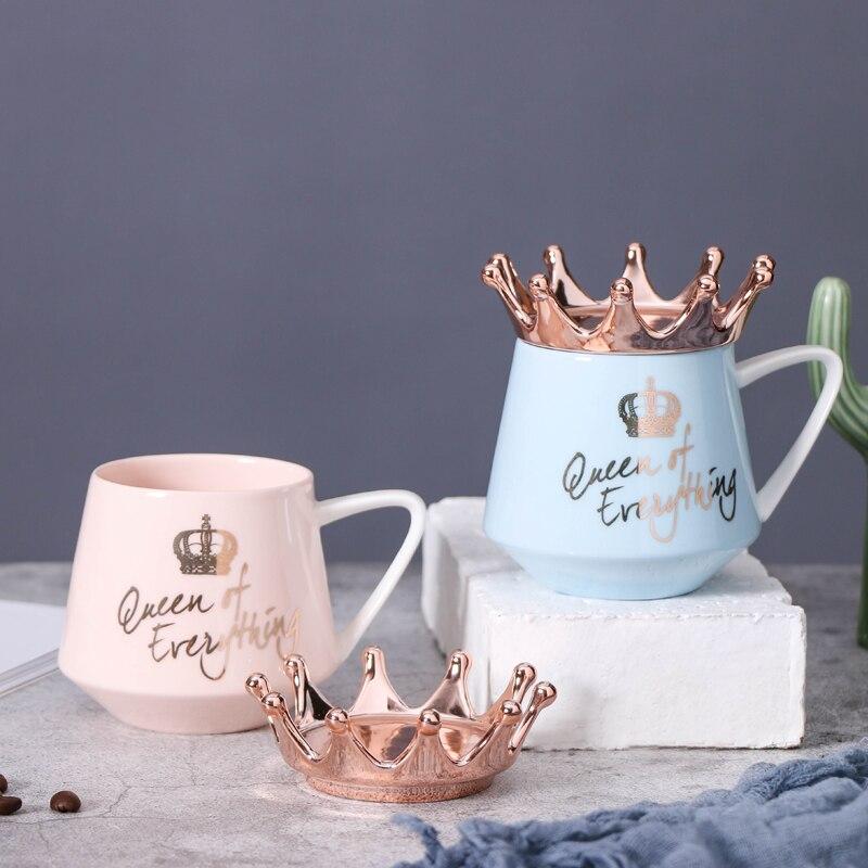 Oussirro 크라운 테마 우유/커피 머그잔 만화 여러 가지 빛깔의 머그잔 컵 주방 도구 선물 x-mas 선물 w3206