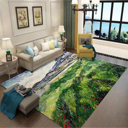 Tapis d'impression 3D paysage de grande taille tapis de cuisine nordique contracté et contemporain tapis anti-dérapant décorations de noël