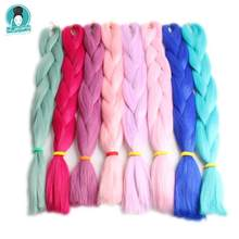 Luxury 1pack 24 60cm 80grams Navy Blue Olive Green PINK VANILLA  Synthetic Jumbo Braiding Hair for Dreads Box Braids