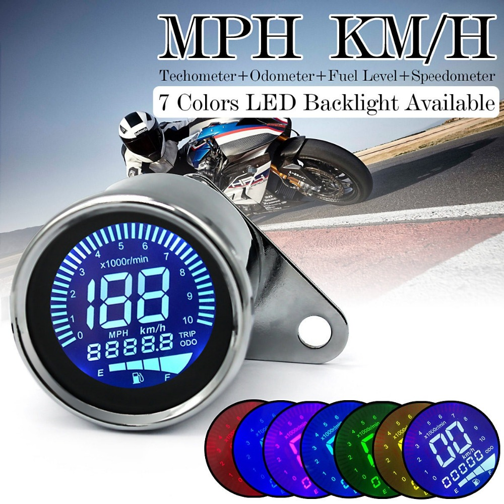 Universal Chrome Motorbike Instrument Display Oil Level Meter LCD Gauge Tachometer Motorcycle Digital Speedometer Odometer in Instruments from Automobiles Motorcycles