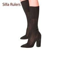 Silla władcy Czarny Białe Skarpety Buty Bloku Chunky Heel Toe Sexy Połowy łydki Bota Jednolity Kolor Elastyczna Knitting Bootie