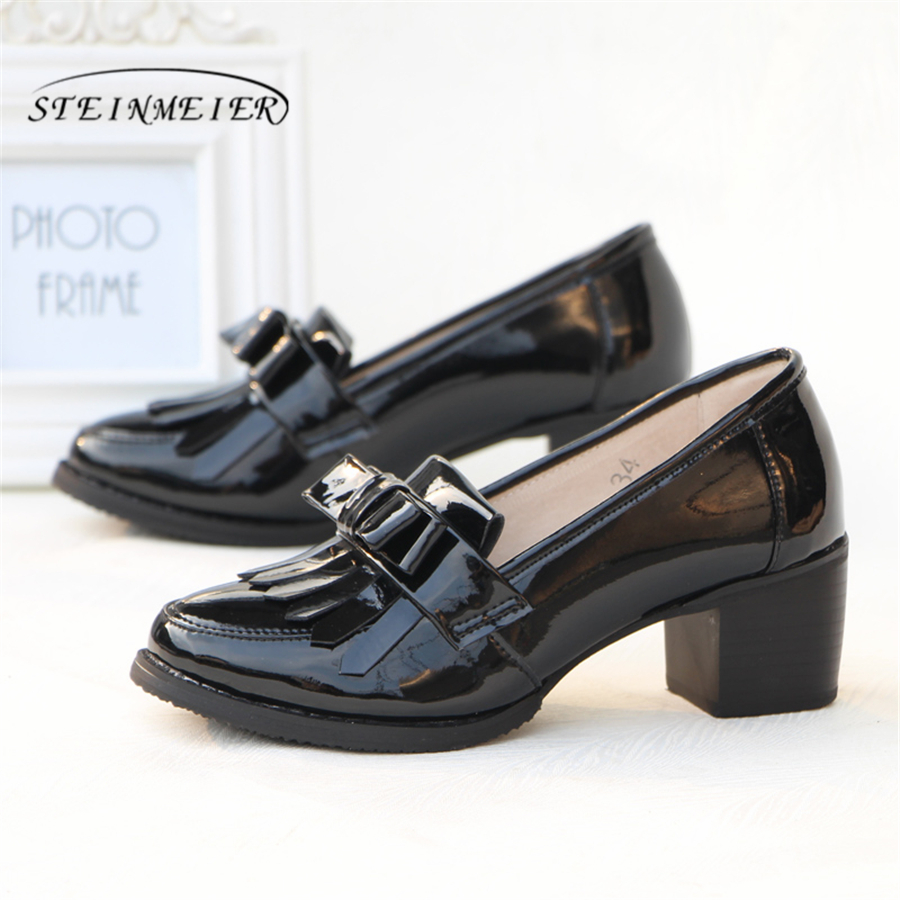 Patent cow leather brogue casual designer vintage lady Pumps shoes handmade oxford shoes for women black