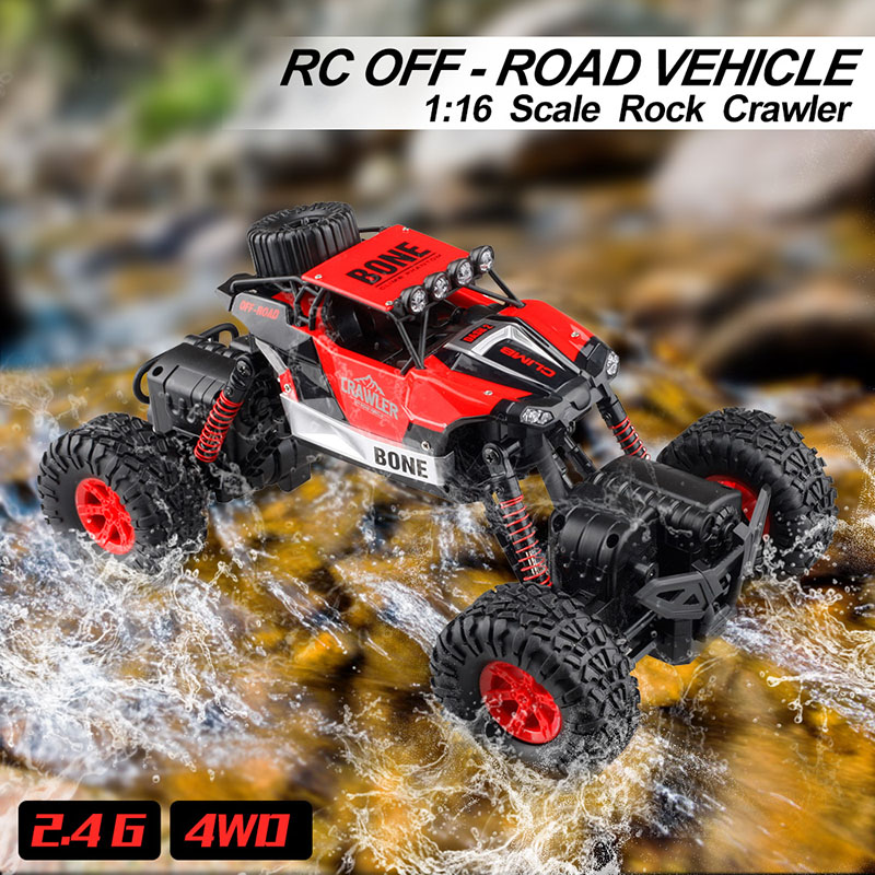 GizmoVine RC Off-road Vehicle 1/16 Remote Control Car Rechargeable Monster Truck Scale 2.4GHz Wireless RC Car Toys For Baby Kids