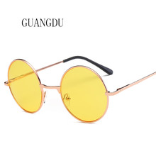 New Fashion Sunglasses Men High Quality Women Round Vintage Cool Sun Glasses Yellow Blue Pink 5 Colors Dropshipping