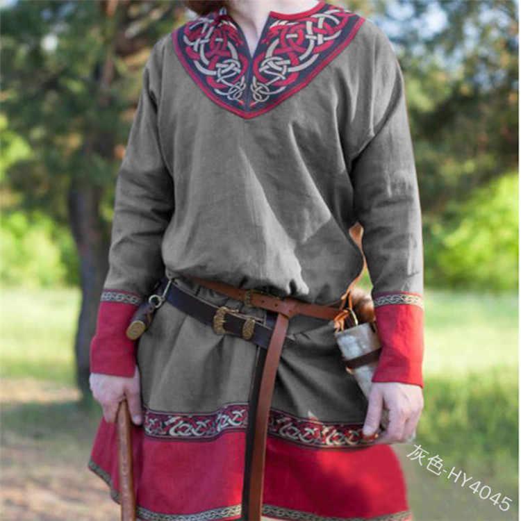 Средневековый Ларп туника рубашка для мужчин Ларп Костюм викинга Длинный топ мужские древние римские греки табард одежда PU ремень черный коричневый